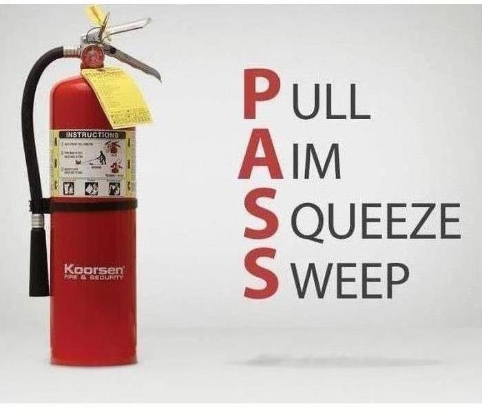 Fire extinguisher with how to steps listed